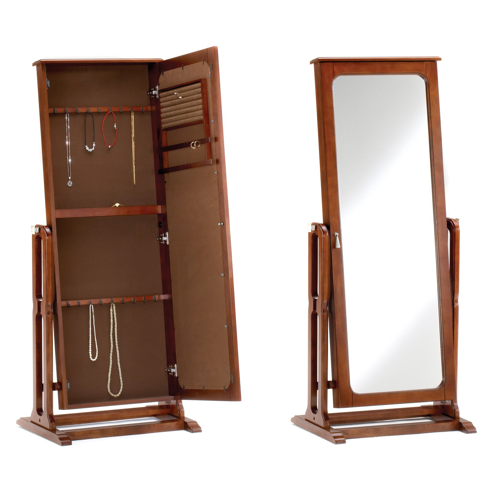 Bernards Cherry Jewelry Armoire with Full Length Mirror