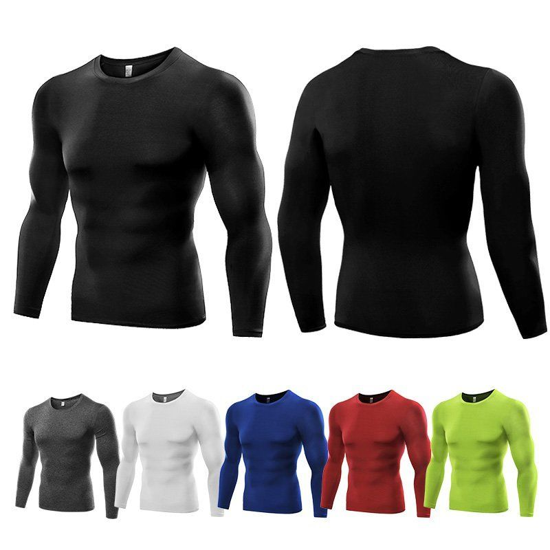 Trendy Men Boys Thermal Under Base Layer Compression Tights Gym Sports Tops Long Sleeve Quick Dry T-Shirt by