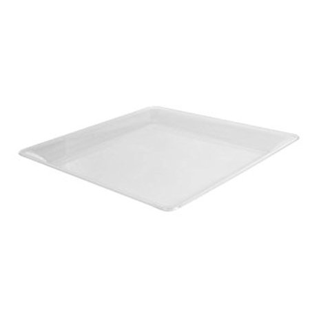 Fineline Settings 3522-CL, 12x12-Inch Platter Pleasers Clear Plastic Square Trays, Serving Dinner Plates, Disposable Display Dish, 25-Piece Case - Clear Plastic Serving Trays