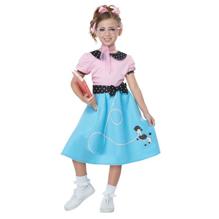 Girls 50's Sock Hop Dress & Poodle Skirt Costume