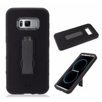 For Samsung Galaxy S8 Plus Case G955 Symbiosis Armor Hybrid Silicone Phone Cover Hard Plastic w/ Stand (Black/Black)