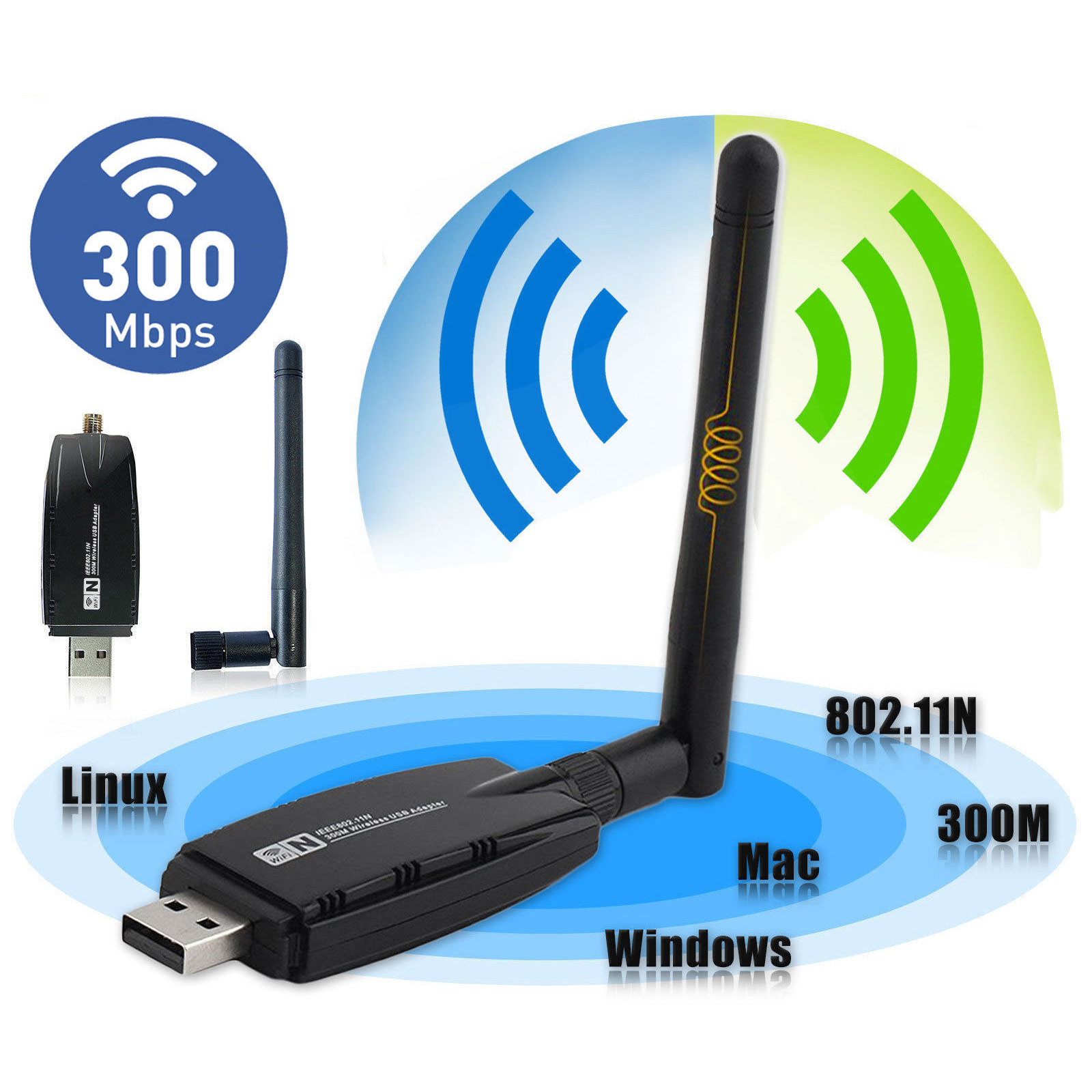 300Mbps Wireless USB WiFi Router Adapter Dongle Network LAN Card 802.11b/g/n with Antenna