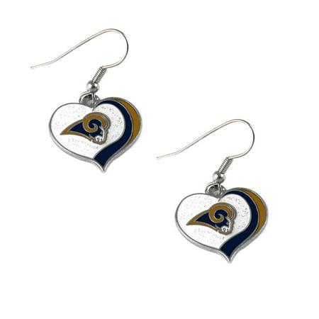 St.Louis Rams NFL Glitter Heart Swirl Dangle Earrings w/Gift Box