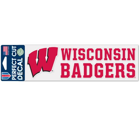 Wisconsin Badgers Official NCAA 3 inch x 10 inch  Die Cut Car Decal by -