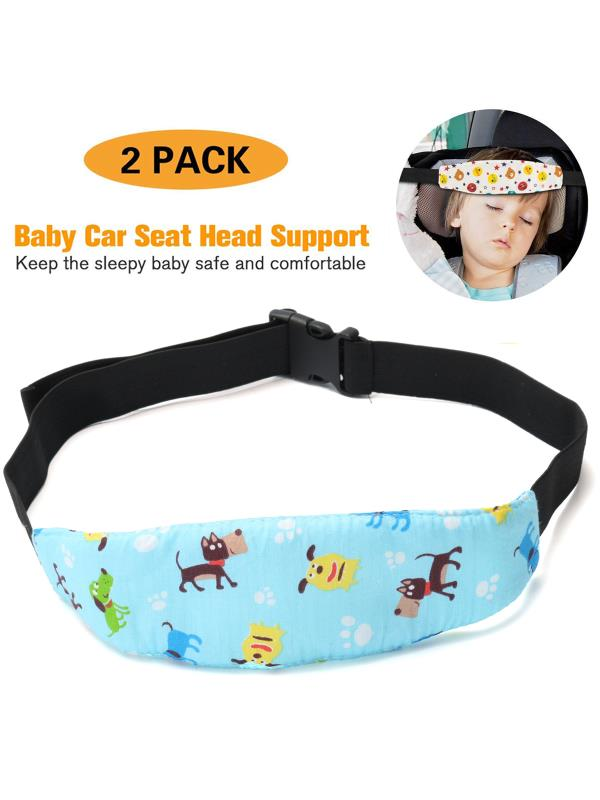 Adjustable Baby Kids Car Seat Neck Relief Head Support Safety Stroller Sleeping Belt, Light Blue Dog by
