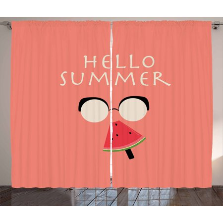 Hello Summer Curtains 2 Panels Set, Vintage Illustration of a Faceless Man with Glasses Eating Watermelon Popsicle, Window Drapes for Living Room Bedroom, 108W X 96L Inches, Multicolor, by Ambesonne - Man Eating Plant