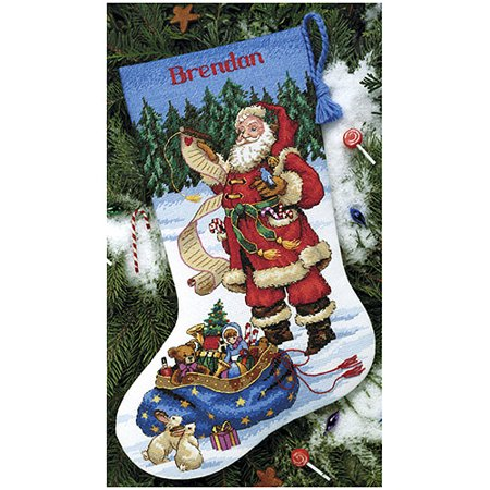 Dimensions Counted Cross Stitch Kit, Checking His List - Stitched Stockings