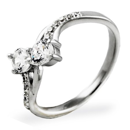 Wallace Grand Baroque Sterling Silver - Sterling Silver Intertwined Baroque Cubic Zirconia Design Promise Engagement Ring