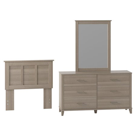 Bush Furniture Somerset Dresser with Mirror and Twin Size Headboard in Ash Gray ()