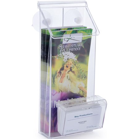 Outdoor Brochure Holder With Business Card Holder Glass Mount With