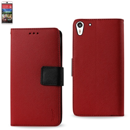 Wallet Case 3 In 1 For Htc Desire Eye Red With Interior Leather-Like Material And Polymer Cover