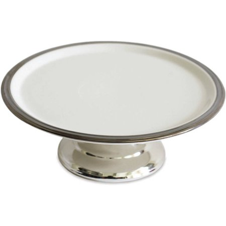 12 Inch Round Cake Plate - Footed Cake Plate, White and Silver