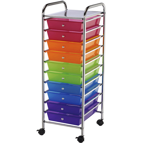 Storage Craft Cart with 10 Multicolor Drawers