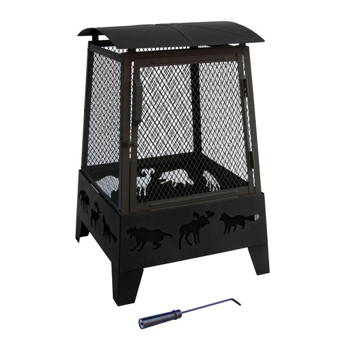 Landmann Haywood Wildlife 22 x 22 in. Fire Pit - Black