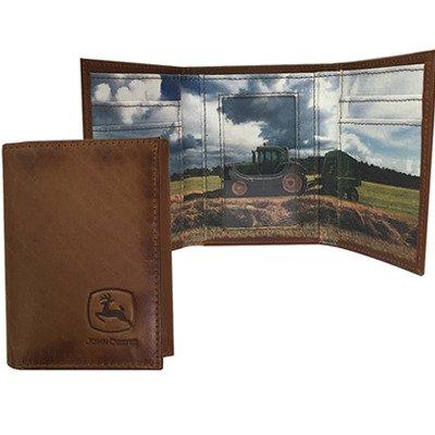 John Deere Tri-Fold Wallet w/Tractor Scene - LP66979 ()
