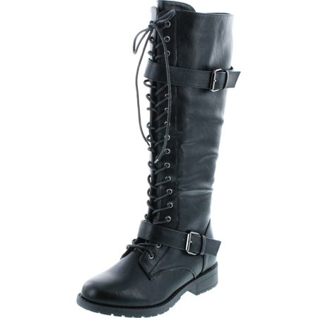 Womens Knee High Boots Lace Up Combat Buckle Straps Low Heels Shoes
