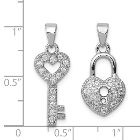 925 Sterling Silver Polished Rhodium Plating Cubic Zirconia Lock and Key Shaped Set Pendant - image 1 of 2