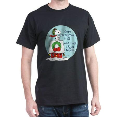 CafePress - Snoopy: Merry Christmas To All Dark T Shirt - 100% Cotton T-Shirt (Snoopy Halloween Shirt)
