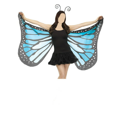 Butterfly Costume Uk (Beautiful Butterfly Wings Fabric Soft Blue Purple Orange Bug Antenna Costume)