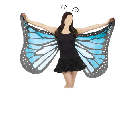 Beautiful Butterfly Wings Fabric Soft Blue Purple Orange Bug Antenna Costume - Blue Butterfly Costumes