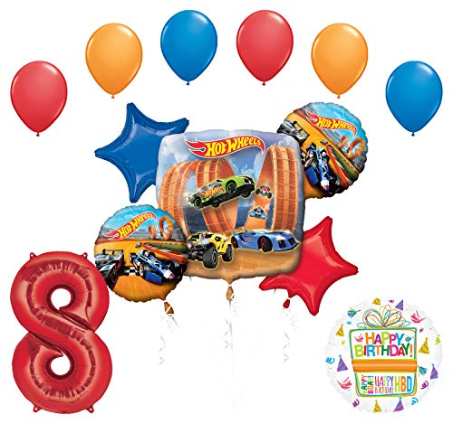 Mayflower Products Hot Wheels Party Supplies 8th Birthday Balloon Bouquet Decorations