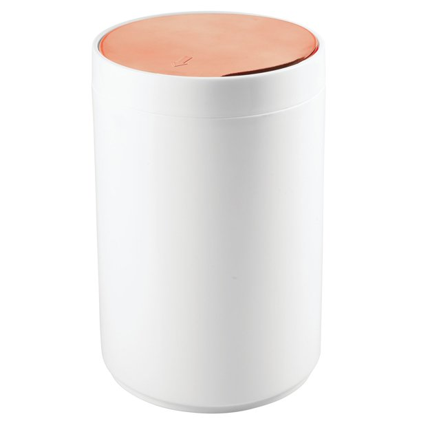 Mdesign Small Round Plastic Trash Can, Small Bathroom Trash Can With Swing Lid