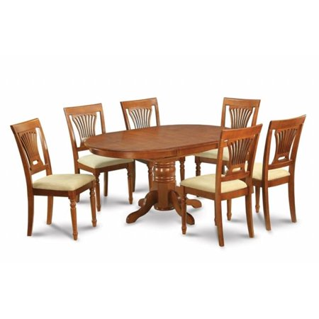 East West Furniture AVPL7-SBR-C 7PC Oval Dining Set with Single Pedestal with 18 inch butterfly leaf and 6 Cushioned seat ()