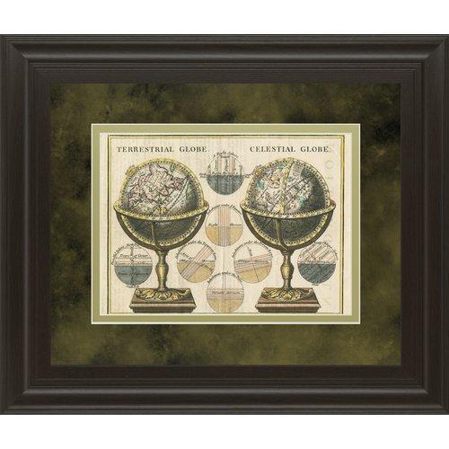 Classy Art Wholesalers Antique Globes Wild Apple Portfolio Framed Graphic Art by Classy Art Wholesalers