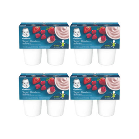 (4 Pack) Gerber Yogurt Blends Snack, Mixed Berry, 4-3.5 oz. Cups