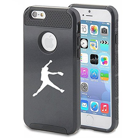 For Apple (iPhone 8) Shockproof Impact Hard Soft Case Cover Female Softball Pitcher