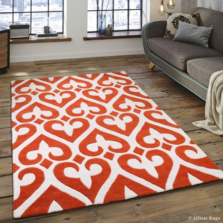 Allstar Orange Hand Made Modern. Transitional. design Area Rug with Dimensional hand-carving highlights (4' 11