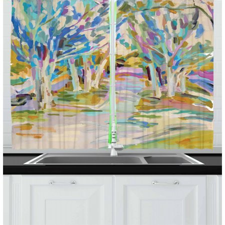 Fine Art Curtains 2 Panels Set, Woodland Scene with Leafless Trees Forest in Soft Pastel Tones Spring Reflections, Window Drapes for Living Room Bedroom, 55W X 39L Inches, Multicolor, by Ambesonne ()