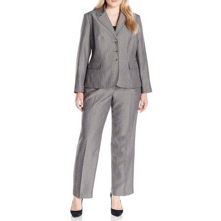 Le Suit NEW Gray Womens Size 20W Plus Three-Button Melange Pant Suit