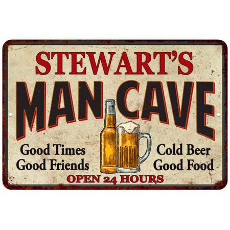 STEWART'S Man Cave Personalized Metal Sign 8 x 12 High Gloss Metal 208120011448