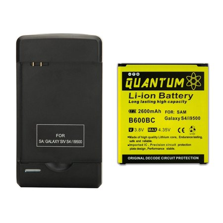 QUANTUM 2600mAh Li-Ion Battery + External Wall Charger with USB Port for Galaxy S4, 12 MONTH WARRANTY
