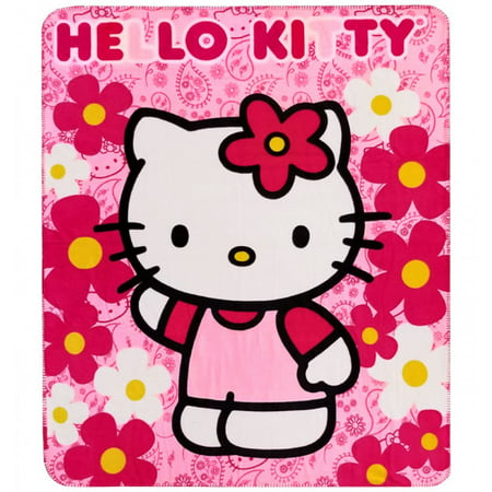 Hello Kitty Flower Pink Throw Fleece Blanket #70332 ()
