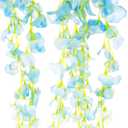 Blue Passion Vine - Best Choice Products 12-Pack 3.6ft Artificial Silk Wisteria Vine Hanging Flower Rattan Decor for Weddings, Home - Blue