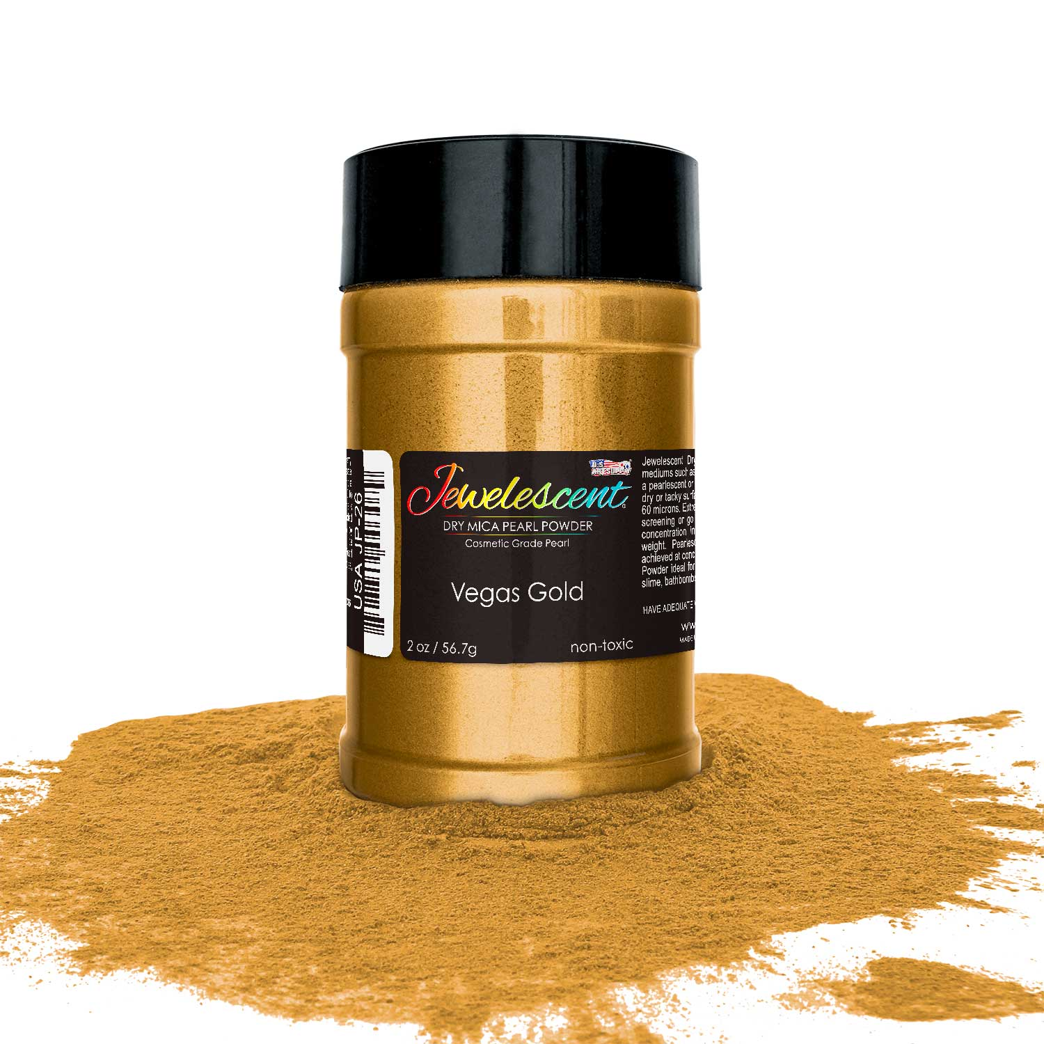 U.S. Art Supply Jewelescent Vegas Gold Mica Pearl Powder Pigment, 2 oz (57g) Bottle - Non-Toxic Metallic Color Dye