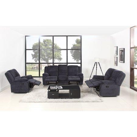 3 Piece Microfiber Recliner Living Room Set In Dark Grey