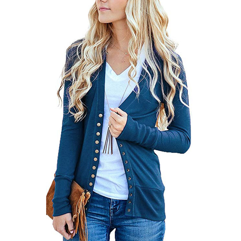Women/'s V-Neck Button Down Knitwear Long Sleeve Basic Knit Snap Cardigan Sweater