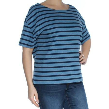 RALPH LAUREN Womens Blue Striped Short Sleeve Scoop Neck Top Size: L