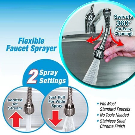 Girl12Queen Flexible 360 Degrees Stainless Steel Faucet Sprayer Extension Kitchen - Fusion Kitchen Sprayer
