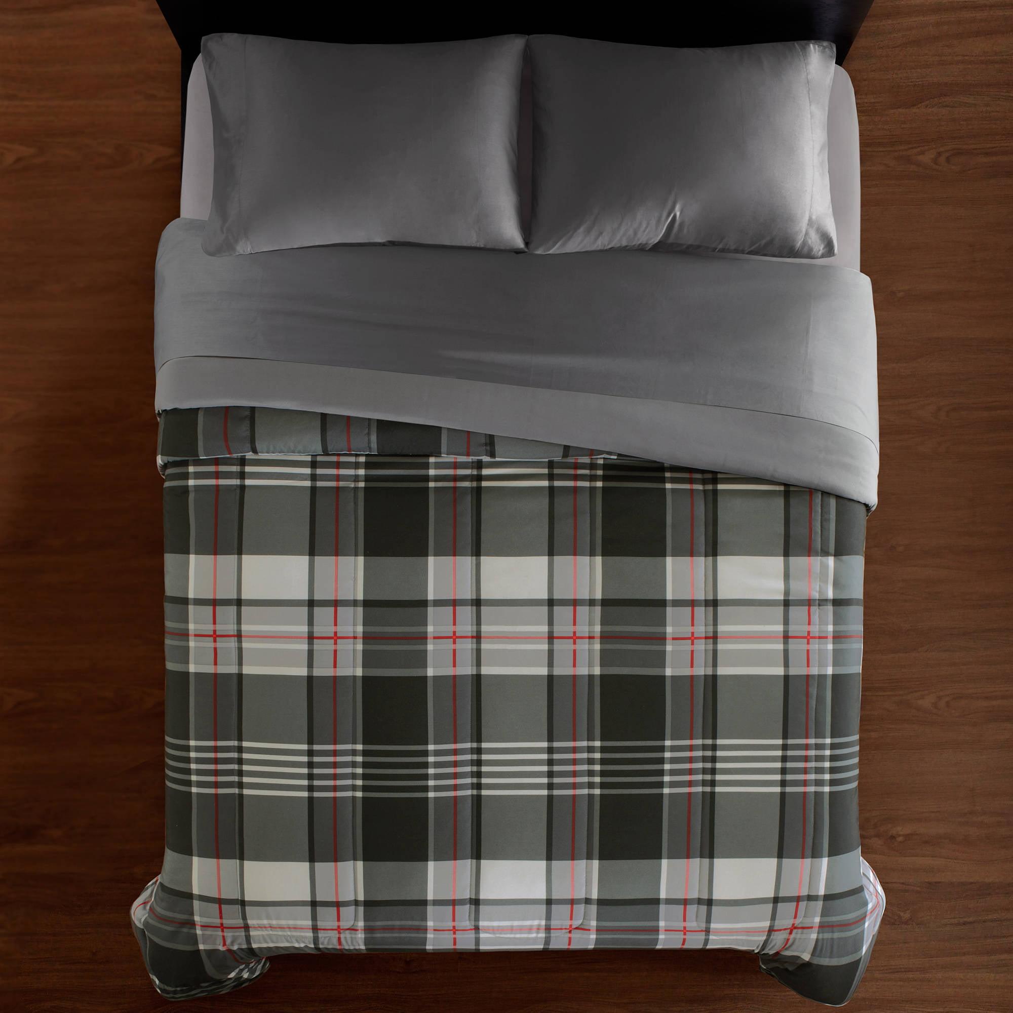 Mainstays Gray Plaid Soft Microfiber Reversible Comforter
