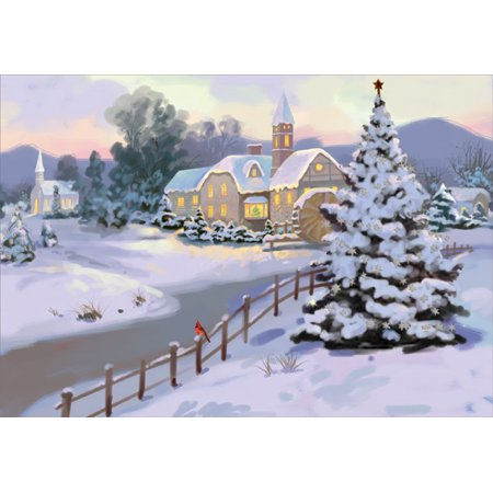 Designer Greetings Fence Alongside Village Stream Country Christmas Card ()