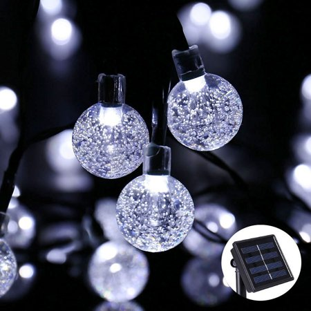 Qedertek Christmas Lights LED String lights Holiday Lighting Solar String Lights LED Bubble Ball Holiday Decorations 30 LED Crystal Globe Fairy Lights Decoration (White)](Purple Halloween Lights)