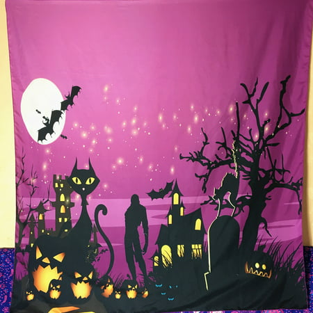 150 x 150cm Skull Witch Pumpkin Castle Halloween Tapestry Wall Hanging Decor - Halloween 2 Pumpkin Skull