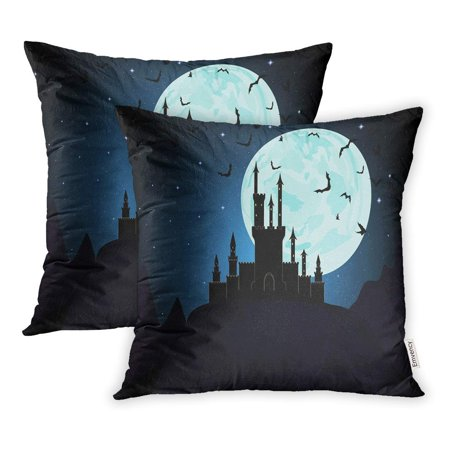 USART Moon Halloween Dracula Castle Dungeon Transylvania Pillowcase Cushion Cover 18x18 inch, Set of - 0x40 Halloween