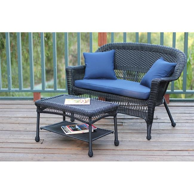 Jeco W00207-LCS011 Black Wicker Patio Love Seat And Coffee Table Set With Blue Cushion