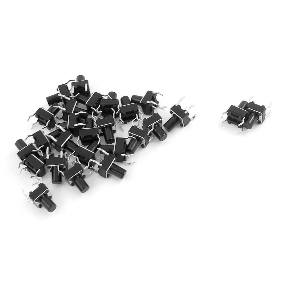 Unique Bargains 26 Pcs 6 x 6 x 12mm Panel Momentary Tactile Tact Push Button Switch 4 Pin Black