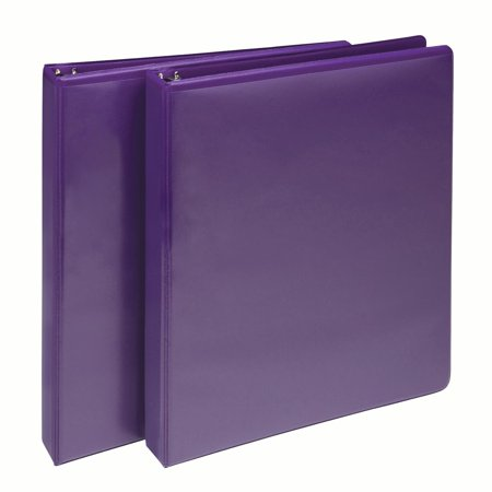 "Samsill Fashion Color 1"" Round Ring View Binders, Purple, Two Pack"